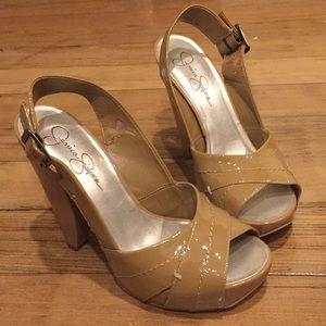 Patent leather cross cross strap beige chunky heel